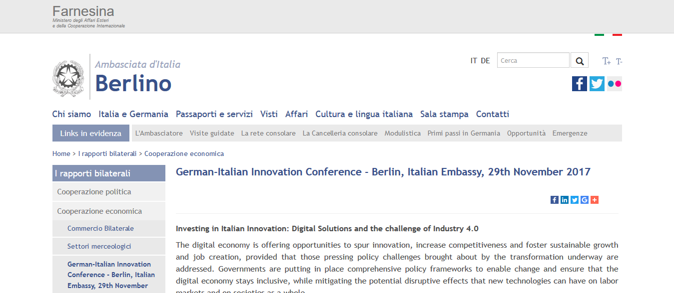 Attending German Italian Innovation Conference Berlin Italian Embassy